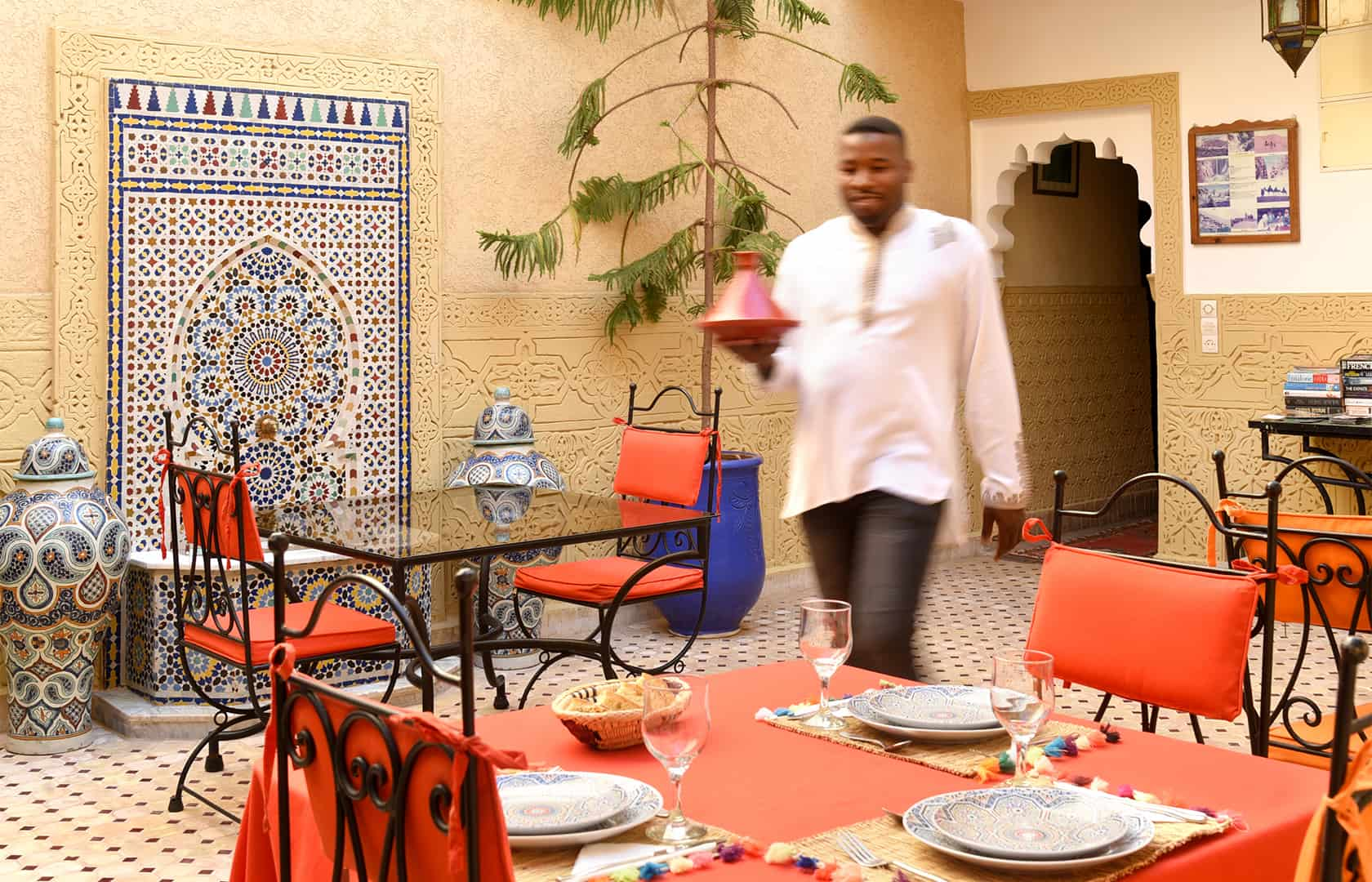 The patio set for dinner, Riad Shaden Marrakech